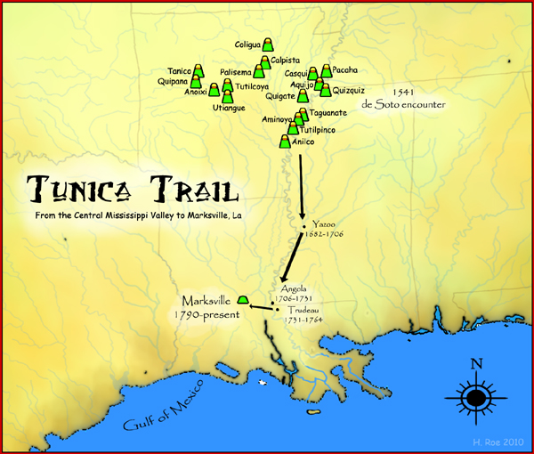 Migration of the Tunica from the Central Mississippi Valley to Marksville, Louisiana.